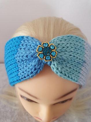 Blue Rainbow Knitted Head Band