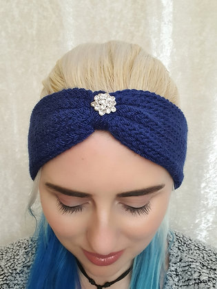 Navy Knitted Head Band