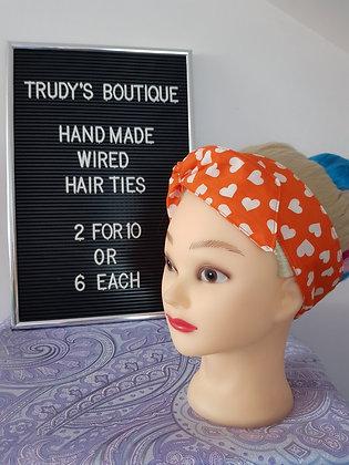 Orange Hearts - Wired Hair Tie