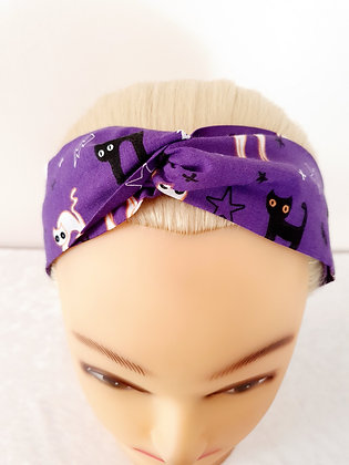 Cats on Purple Elasticated Head Band