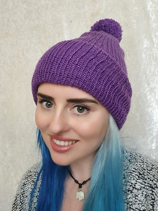 Glitter Purple Bobble Hat