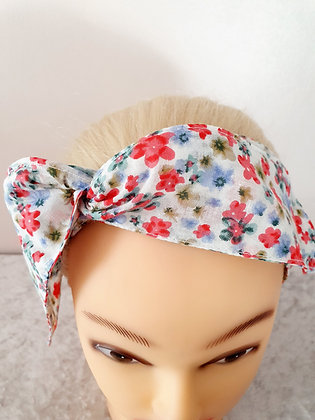 Ditsy Flowers on White Wired Hair Tie