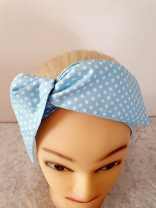 Pale Blue Polka Dot Small Wired Hair Tie