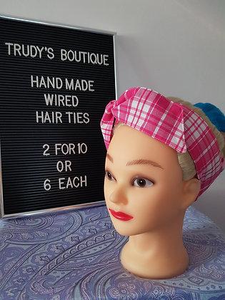 Pink Tartan - Wired Hair Tie