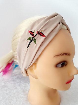 Embroidered Anturium Elasticated Head Band
