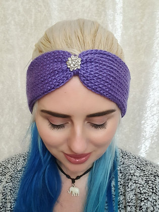 Purple Knitted Head Band