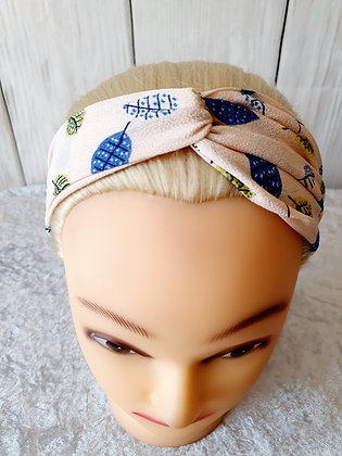 Pink Leaves Elasticated Head Band