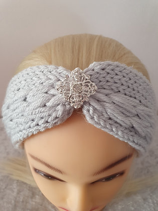 Silver Pleat Knitted Head Band