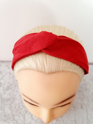 Faux Suede in Red Elasticated Head Band