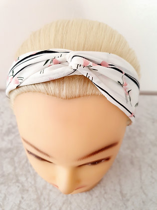 White Stripe Floral Elasticated Head Band