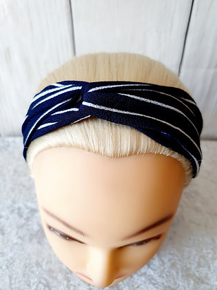 Navy Stripes Elasticated Head Band