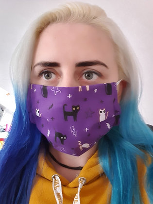 Cats on Purple Face Mask