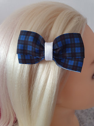 Blue Tartan with White Hair Bow
