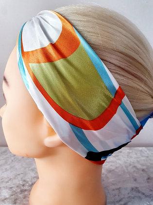 Orange Waves Silk Head Scarf