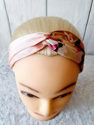 Pink Silk Floral Elasticated Head Band