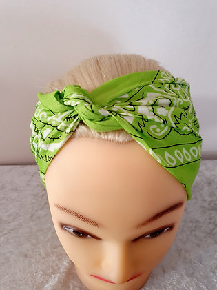 Light Green Paisley Head Scarf