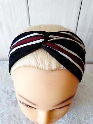 Burgundy and Black Stripes Elasticated Head Band