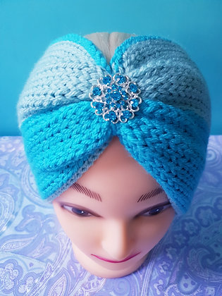 Two Tone Blue Double Width Knitted Head Band
