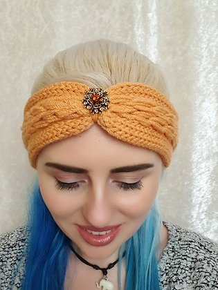 Peach Plaited Knitted Ear Warmer