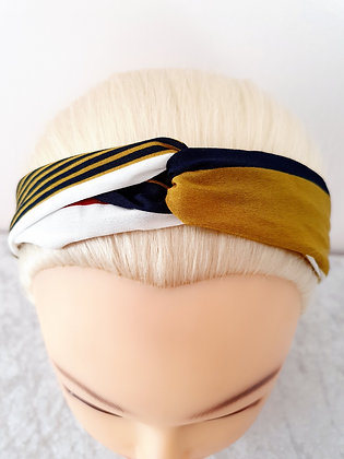 Mustard and Navy Stripes Elasticated Head Band
