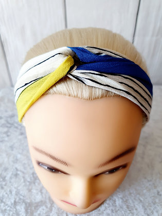Yellow Blue Stripes Elasticated Head Band