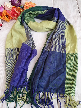 Green and Blue Check Soft Scarf