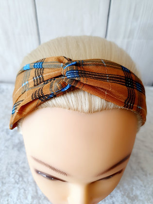 Orange Tartan Elasticated Head Band