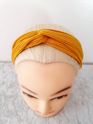 Plain Ribbed in Mustard Elasticated Head Band