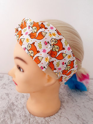 Foxes on White Wired Hair Tie