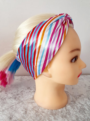Candy Striped Silk Head Scarf