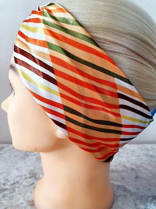 Orange Striped Silk Head Scarf