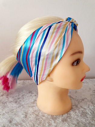 Blue Pastel Striped Silk Head Scarf