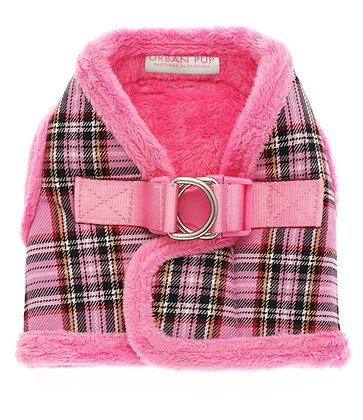 Luxury Fur Lined Pink Tartan Harness - MEDIUM ONLY