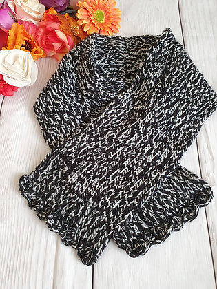 Black and White Hand Knitted Scarf