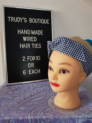 Navy Gingham Small - Wired Hair Tie