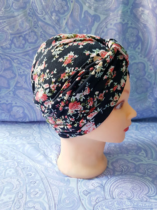 Black and Orange Floral Chemo Cap Turban