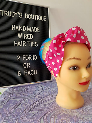 Polka on Bright Pink - Wired Hair Tie
