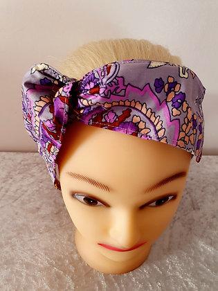 Purple Paisley Wired Hair Tie