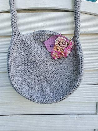 Hand Crochet Bag in Silver