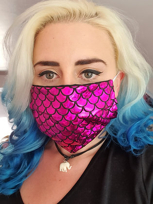 Bright Pink Mermaid Face Mask