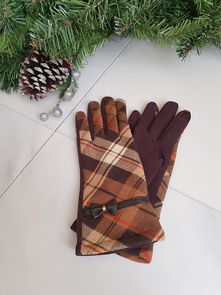 Beige Check Gloves