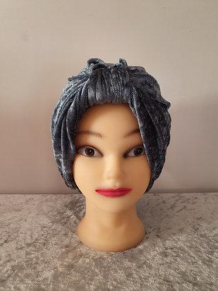 Dark Grey Crushed Velvet Turban