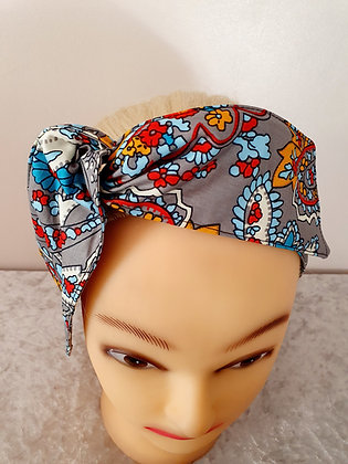 Paisley in Grey Wired Hair Tie