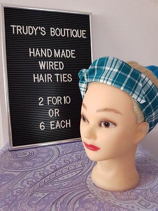 Blue Tartan - Wired Hair Tie