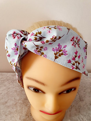Blue Little Floral Wired Hair Tie
