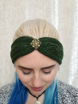 Forest Green Pleat Knitted Head Band