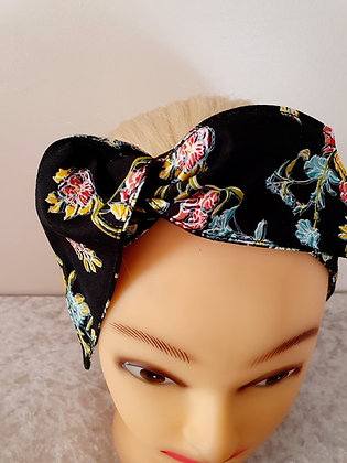 Vibrant Floral on Black Wired Hair Tie