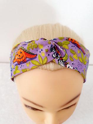Spooky Dinosaurs on Purple Elasticated Head Band
