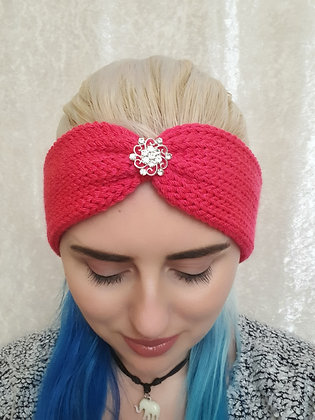 Lipstick Pink Knitted Ear Warmer