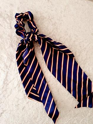 Long Tail Scrunchie Navy Stripes